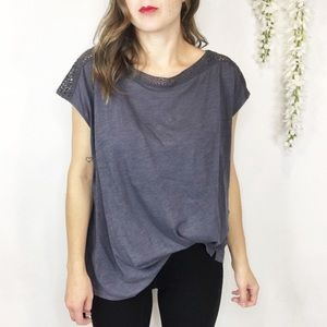 LOFT cap sleeve shirt crochet neck stone gray blue